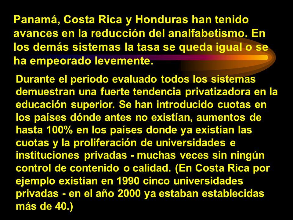 Panamá, Costa Rica y Honduras han tenido avances en la reducción del analfabetismo. En los demás sistemas la tasa se queda igual o se ha empeorado levemente.