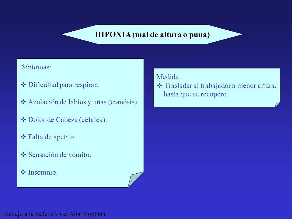HIPOXIA (mal de altura o puna)