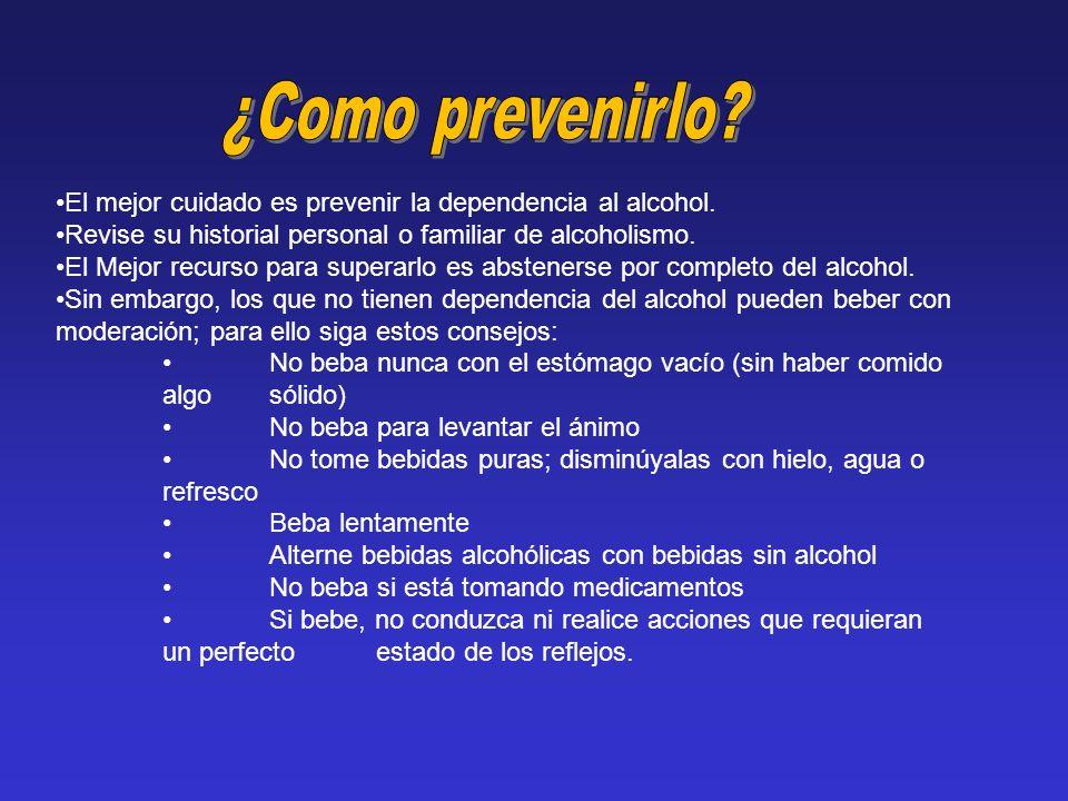 ¿Como prevenirlo El mejor cuidado es prevenir la dependencia al alcohol. Revise su historial personal o familiar de alcoholismo.