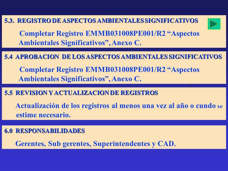 5.3. REGISTRO DE ASPECTOS AMBIENTALES SIGNIFICATIVOS