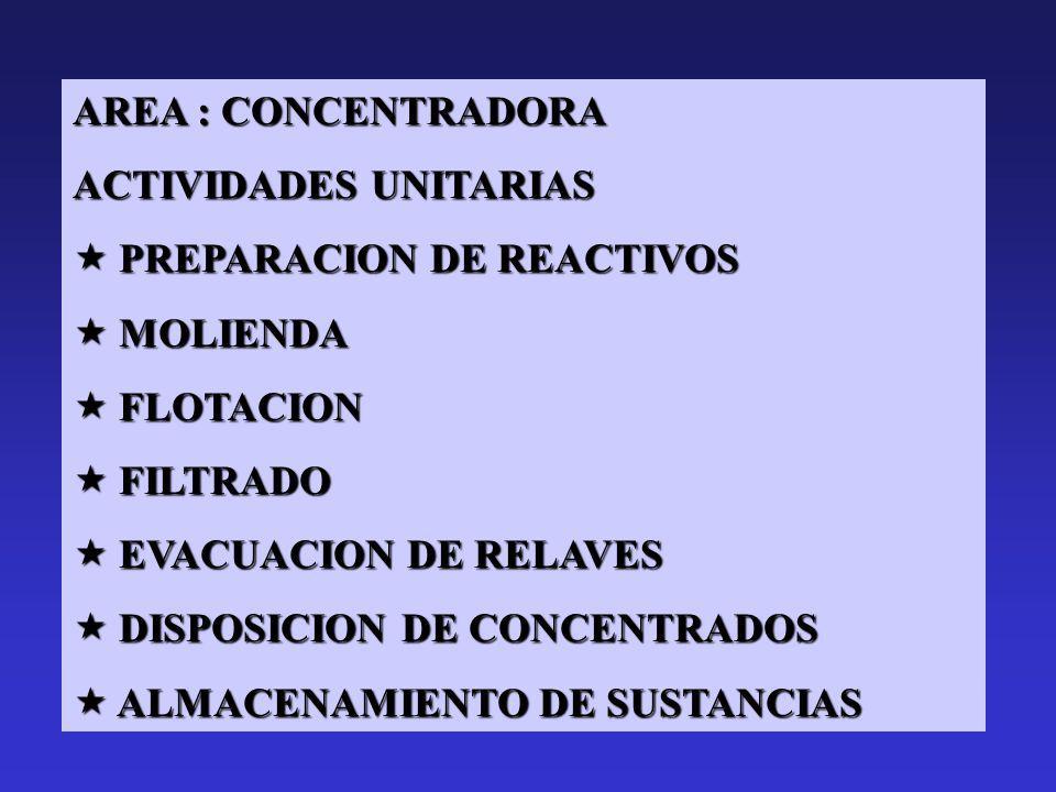 AREA : CONCENTRADORA ACTIVIDADES UNITARIAS. PREPARACION DE REACTIVOS. MOLIENDA. FLOTACION. FILTRADO.