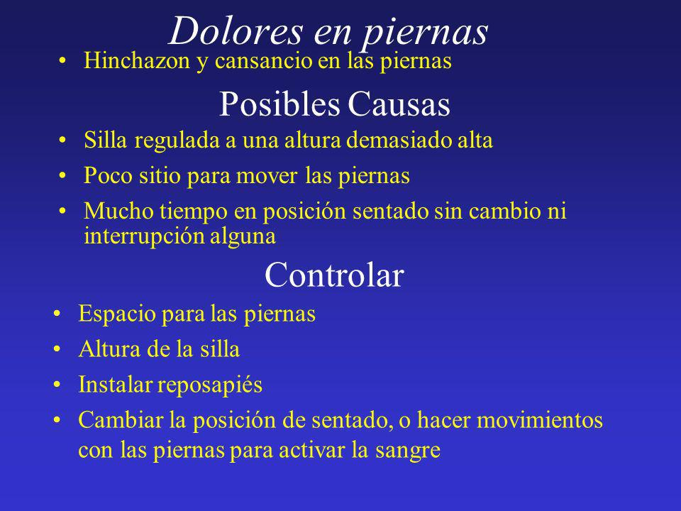 Dolores en piernas Posibles Causas Controlar