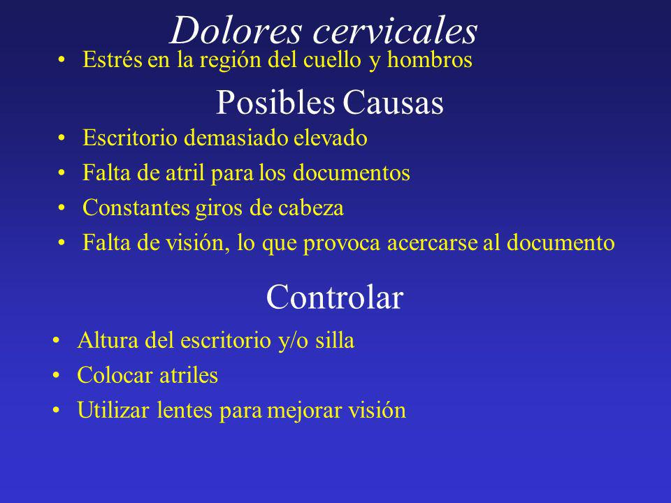 Dolores cervicales Posibles Causas Controlar