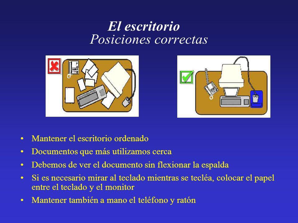 El escritorio Posiciones correctas Mantener el escritorio ordenado