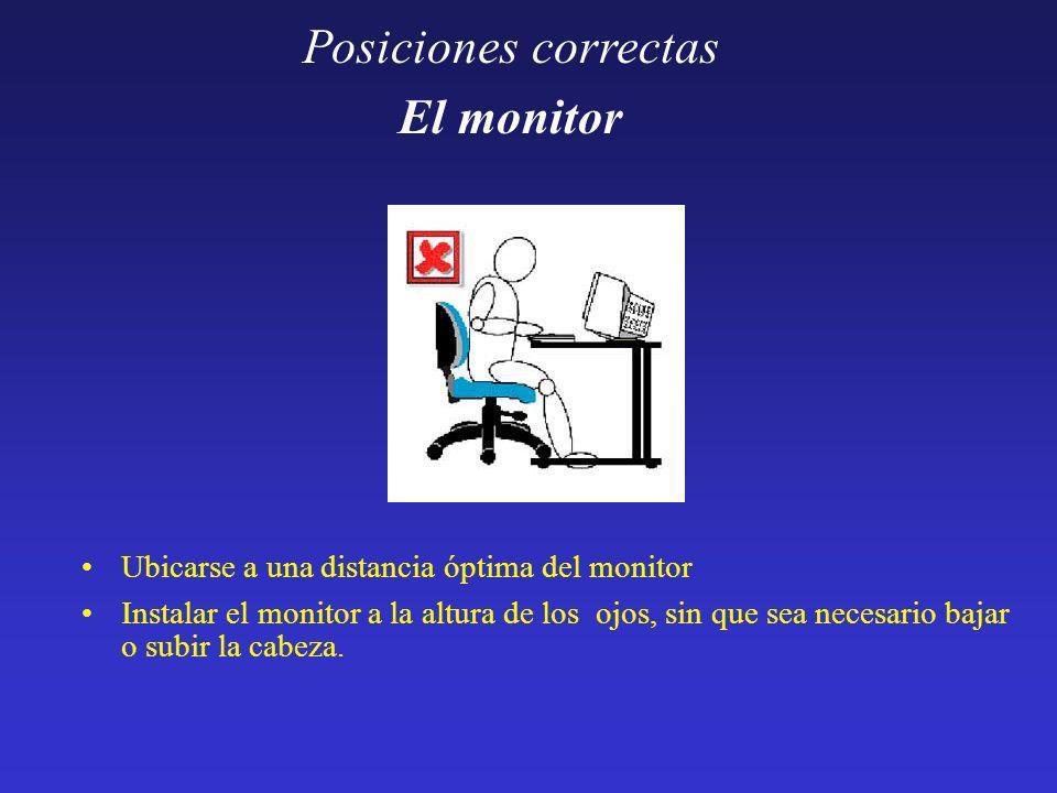 Posiciones correctas El monitor