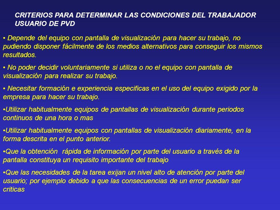CRITERIOS PARA DETERMINAR LAS CONDICIONES DEL TRABAJADOR USUARIO DE PVD