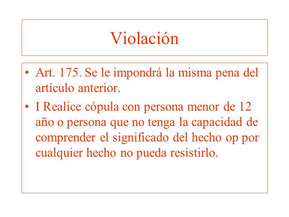 Violación Art. 175. Se le impondrá la misma pena del artículo anterior.
