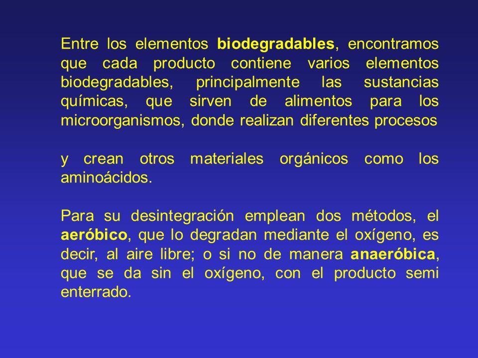 Entre los elementos biodegradables, encontramos que cada producto contiene varios elementos biodegradables, principalmente las sustancias químicas, que sirven de alimentos para los microorganismos, donde realizan diferentes procesos