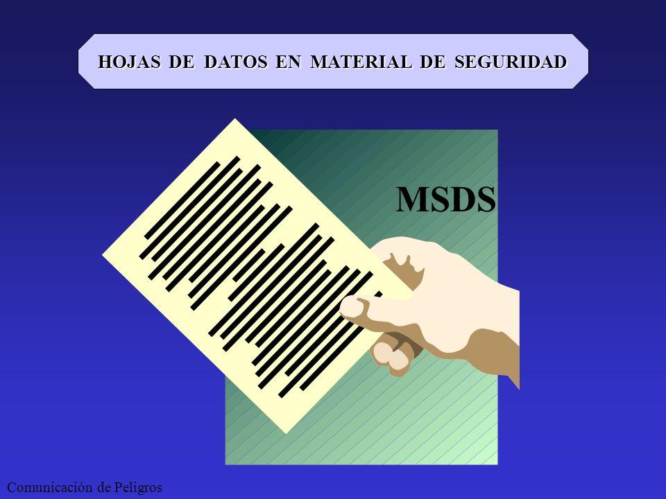 HOJAS DE DATOS EN MATERIAL DE SEGURIDAD