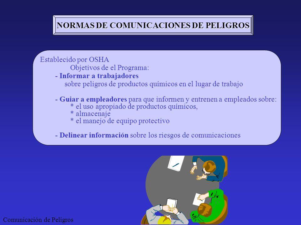 NORMAS DE COMUNICACIONES DE PELIGROS
