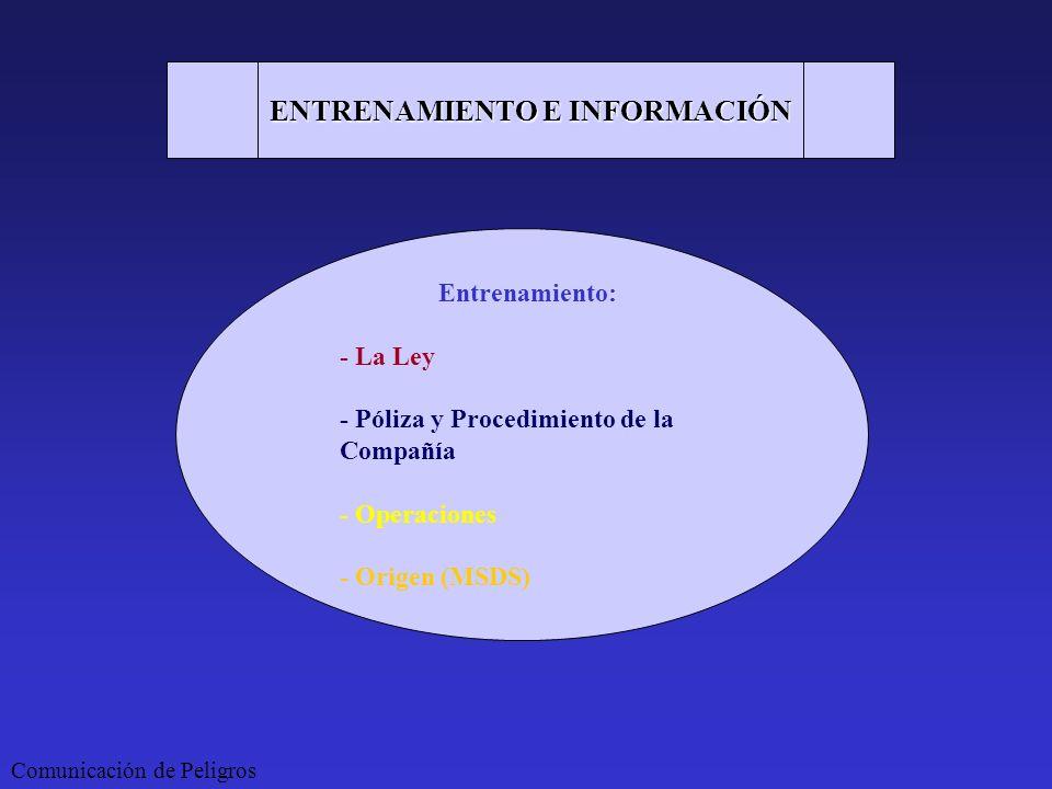 ENTRENAMIENTO E INFORMACIÓN