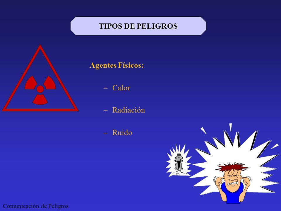 TIPOS DE PELIGROS Agentes Físicos: Calor Radiación Ruido