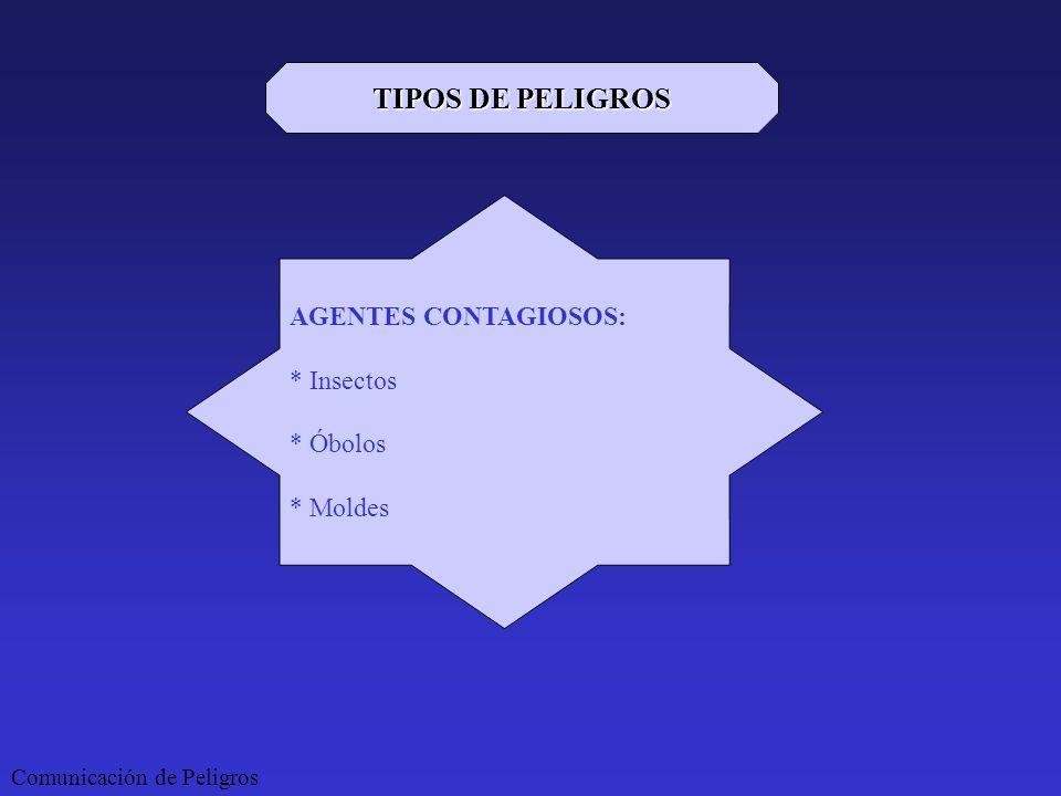 TIPOS DE PELIGROS AGENTES CONTAGIOSOS: * Insectos * Óbolos * Moldes