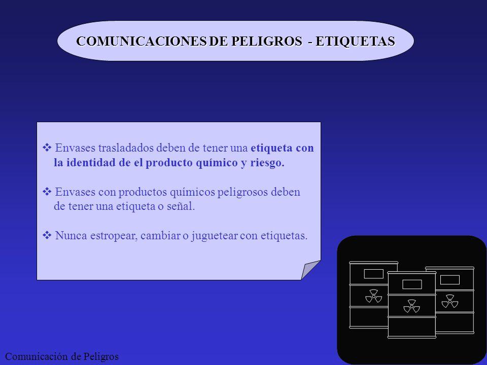 COMUNICACIONES DE PELIGROS - ETIQUETAS