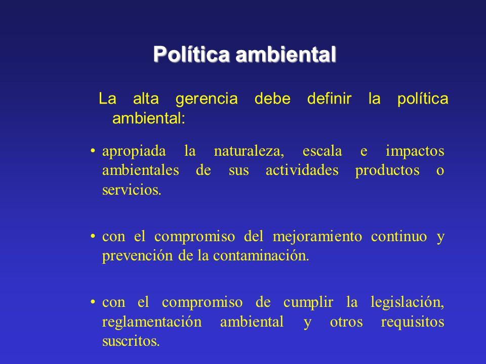 Política ambiental La alta gerencia debe definir la política ambiental:
