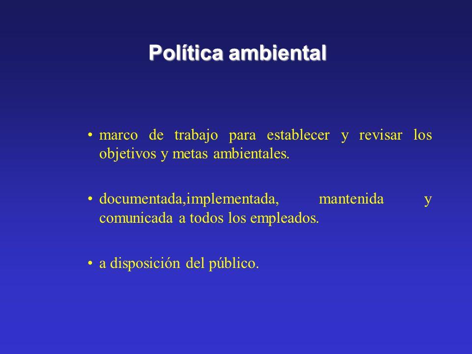 Política ambientalmarco de trabajo para establecer y revisar los objetivos y metas ambientales.
