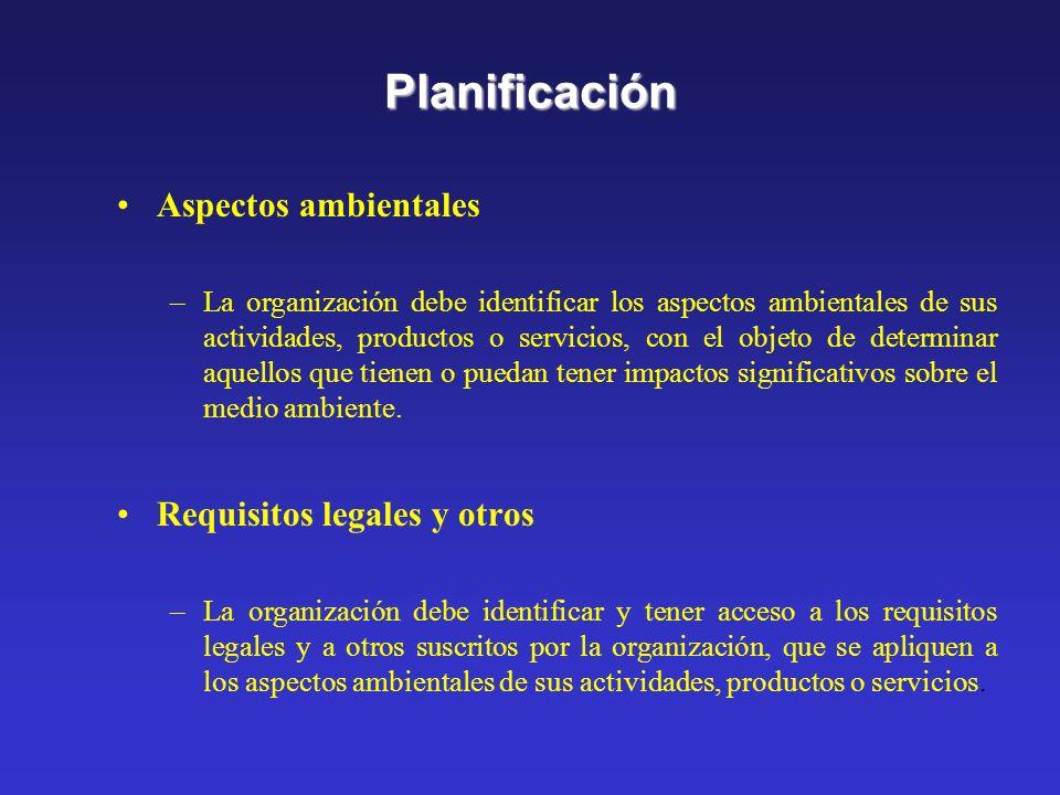 Planificación Aspectos ambientales Requisitos legales y otros