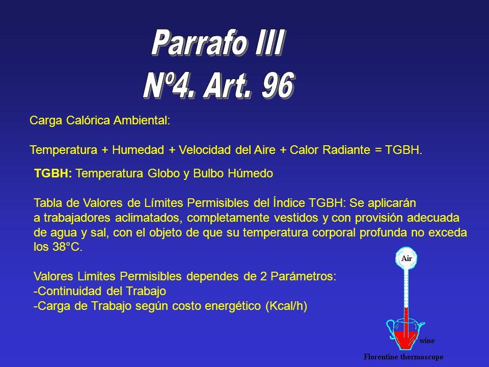 Parrafo III Nº4. Art. 96 Carga Calórica Ambiental: