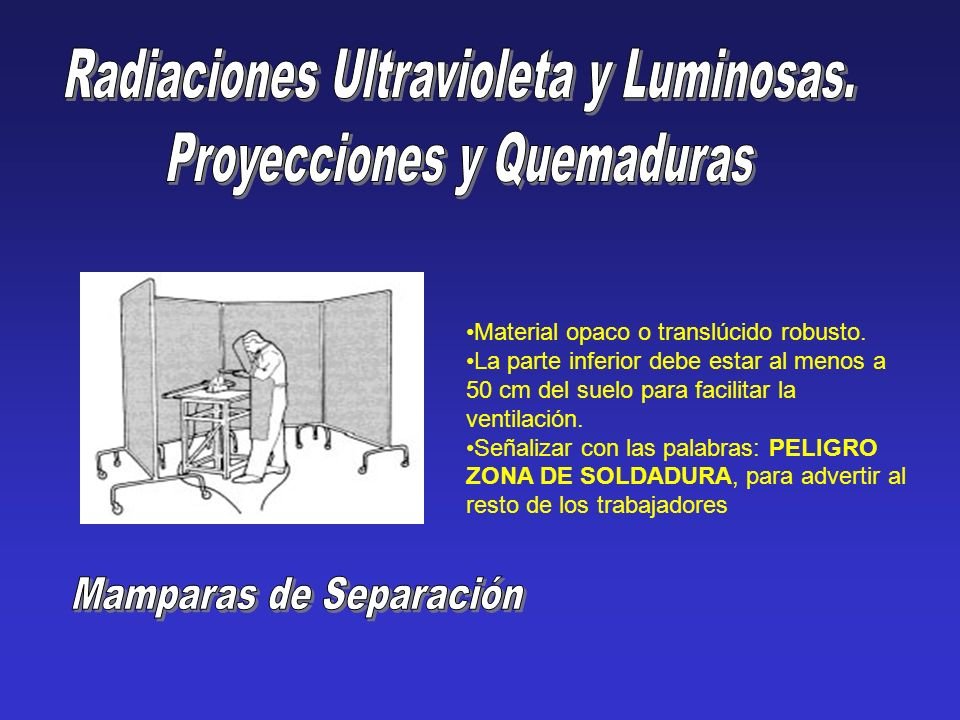 Radiaciones Ultravioleta y Luminosas. Proyecciones y Quemaduras