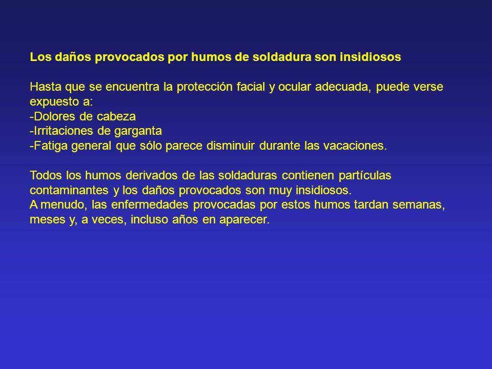 Los daños provocados por humos de soldadura son insidiosos Hasta que se encuentra la protección facial y ocular adecuada, puede verse expuesto a: