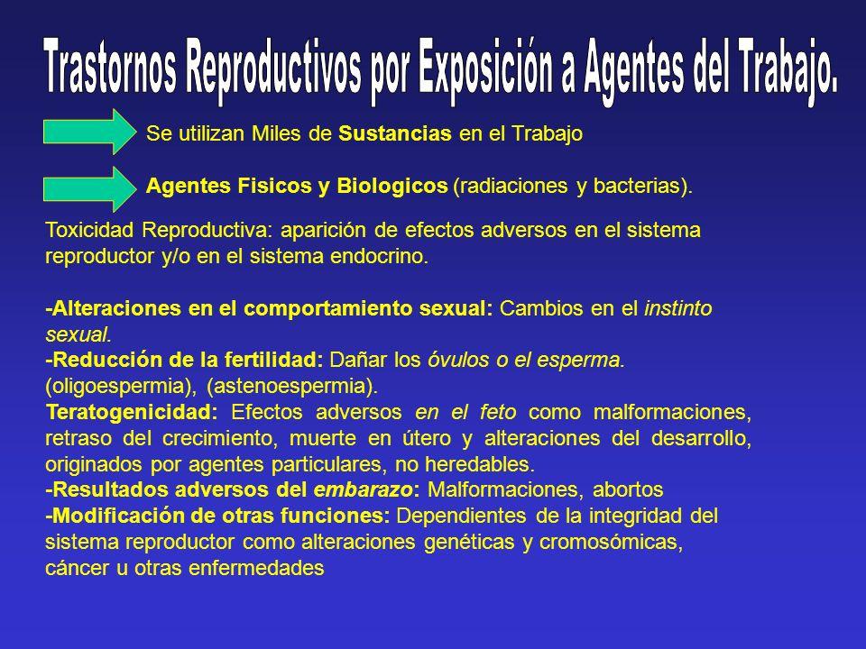 Trastornos Reproductivos por Exposición a Agentes del Trabajo.