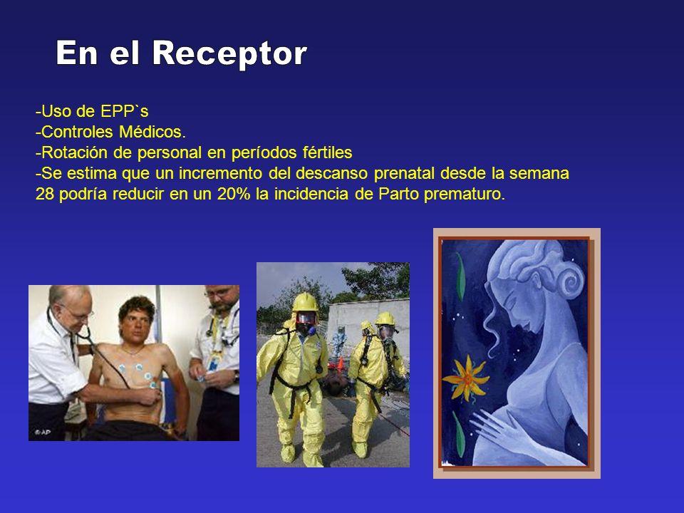En el Receptor -Uso de EPP`s -Controles Médicos.