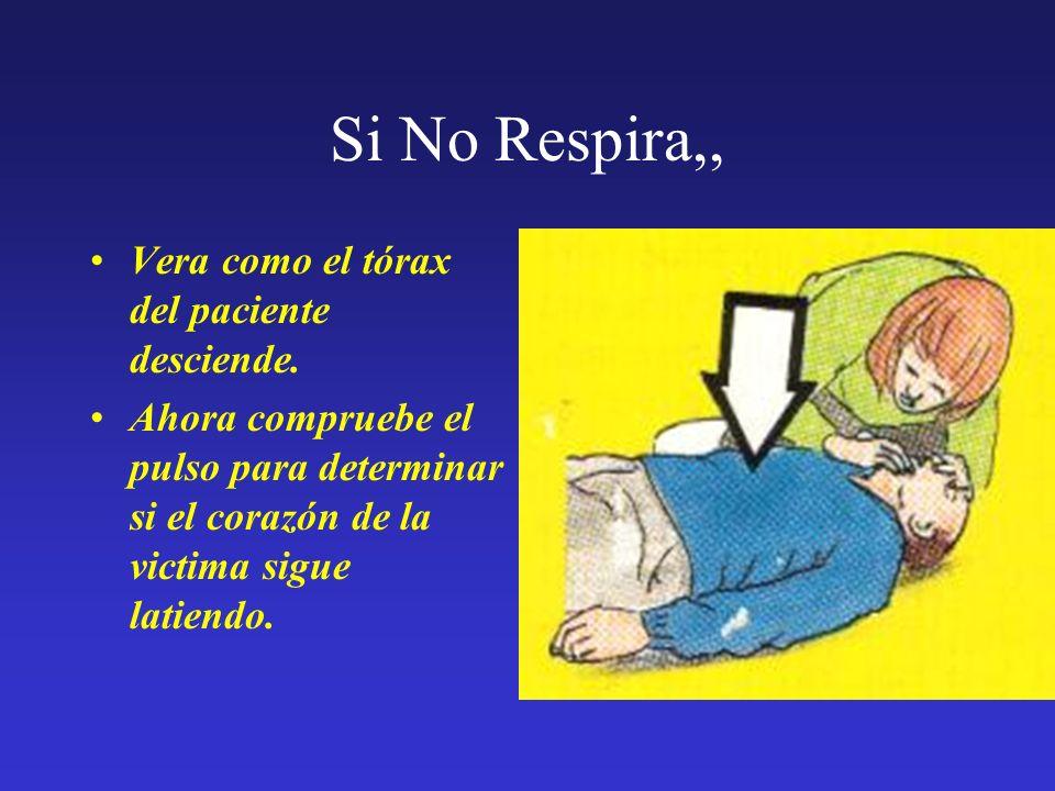 Si No Respira,, Vera como el tórax del paciente desciende.