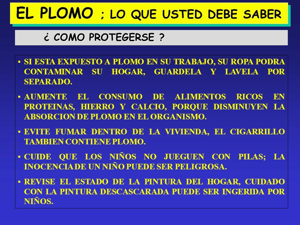 EL PLOMO ; LO QUE USTED DEBE SABER