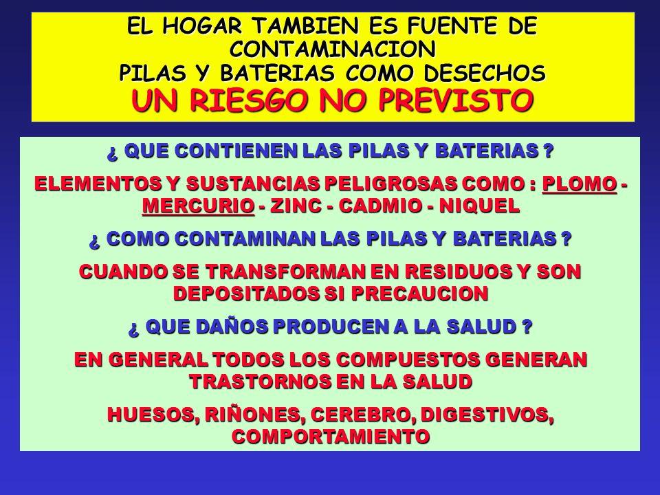 UN RIESGO NO PREVISTO EL HOGAR TAMBIEN ES FUENTE DE CONTAMINACION