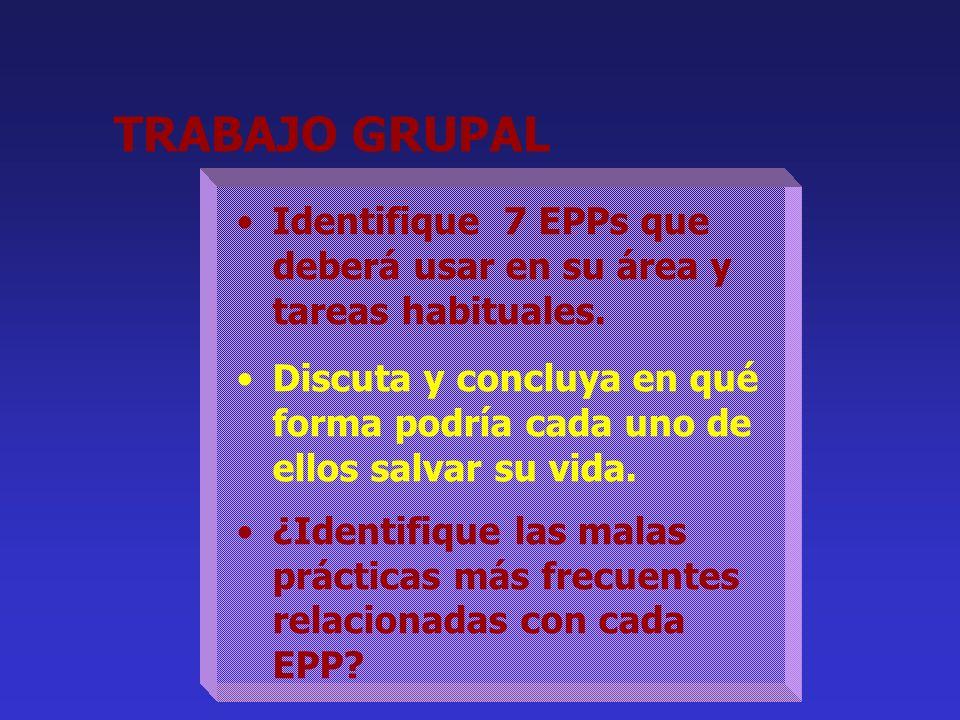 TRABAJO GRUPAL Identifique 7 EPPs que deberá usar en su área y tareas habituales.