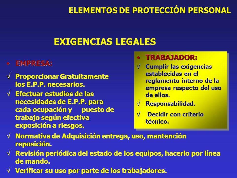 EXIGENCIAS LEGALES ELEMENTOS DE PROTECCIÓN PERSONAL TRABAJADOR: