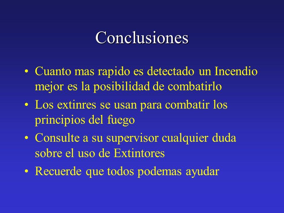 Conclusiones Cuanto mas rapido es detectado un Incendio mejor es la posibilidad de combatirlo.