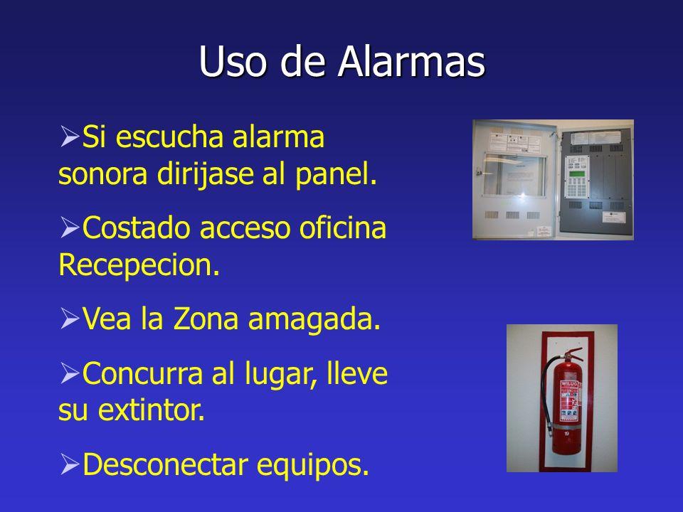 Uso de Alarmas Si escucha alarma sonora dirijase al panel.