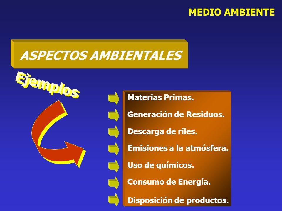 Ejemplos ASPECTOS AMBIENTALES MEDIO AMBIENTE Materias Primas.