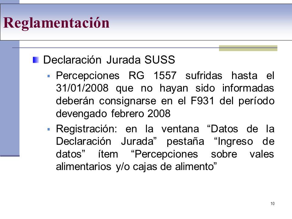 Reglamentación Declaración Jurada SUSS