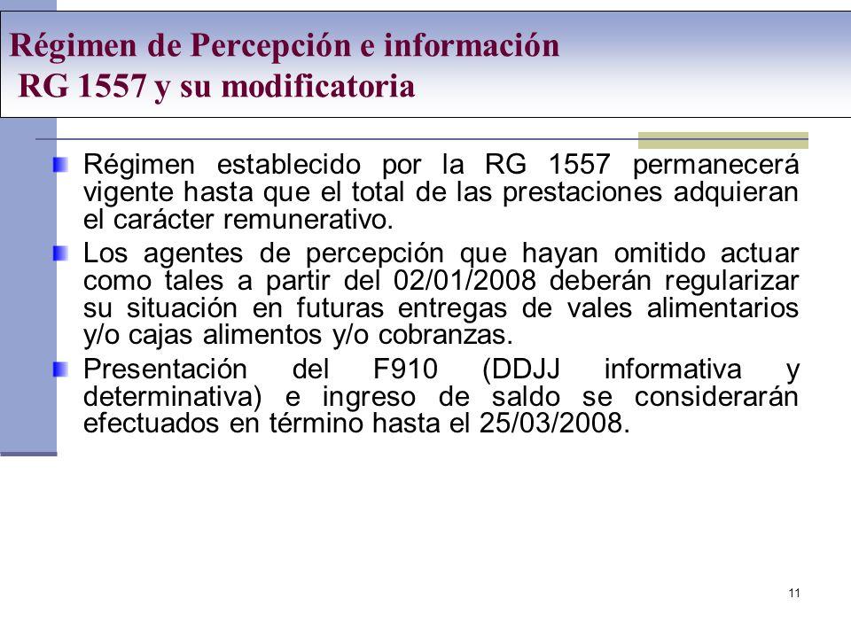 Régimen de Percepción e información RG 1557 y su modificatoria