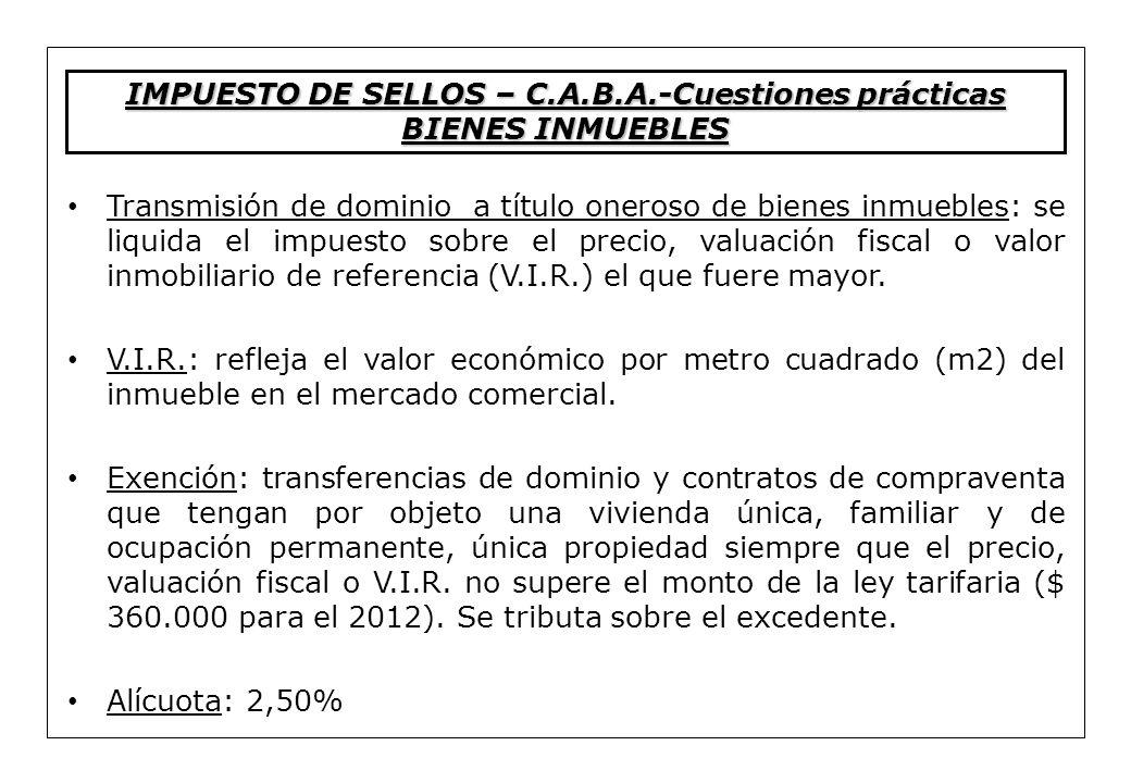 IMPUESTO DE SELLOS – C.A.B.A.-Cuestiones prácticas