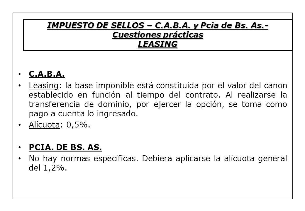 IMPUESTO DE SELLOS – C.A.B.A. y Pcia de Bs. As.-Cuestiones prácticas