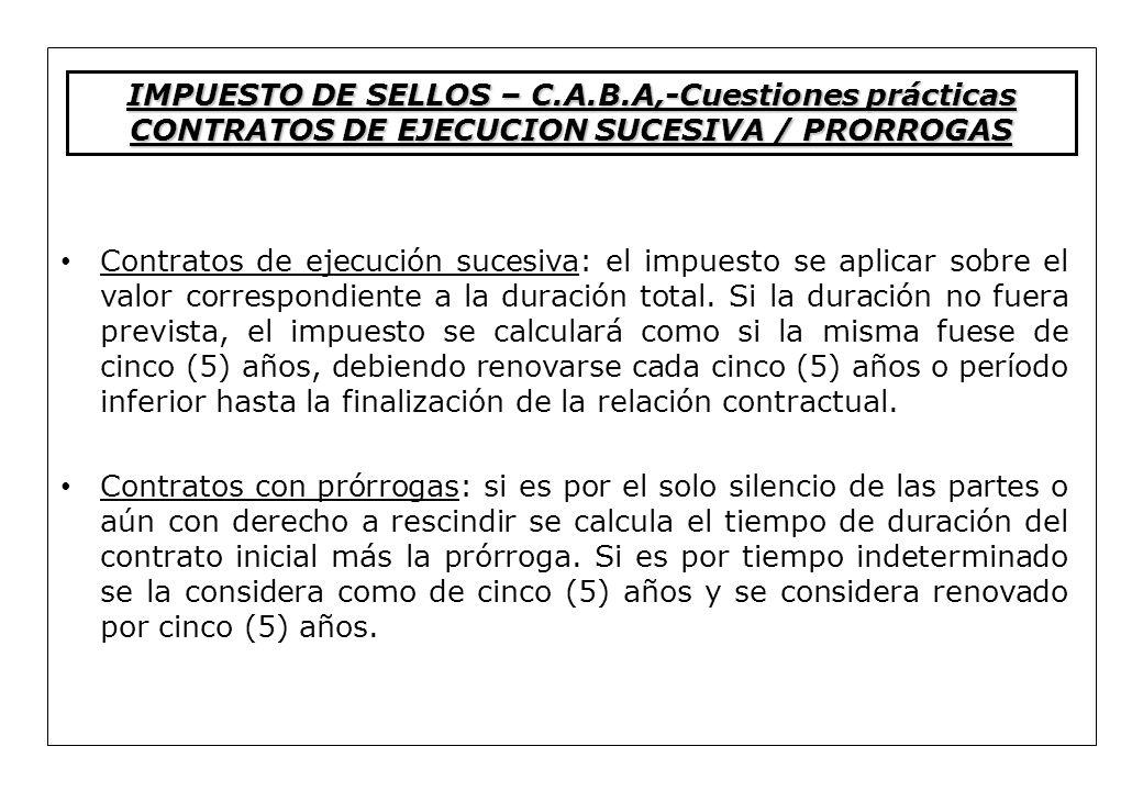 IMPUESTO DE SELLOS – C.A.B.A,-Cuestiones prácticas