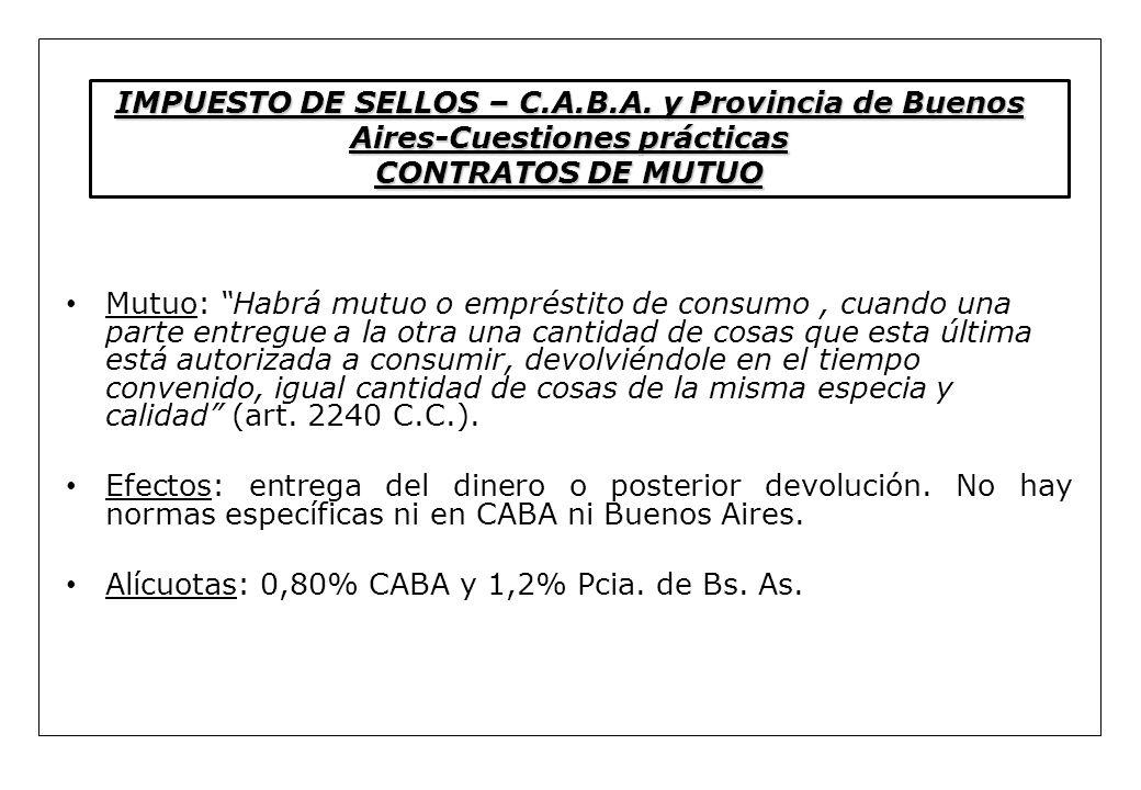 IMPUESTO DE SELLOS – C. A. B. A