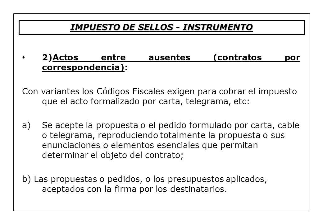 IMPUESTO DE SELLOS - INSTRUMENTO