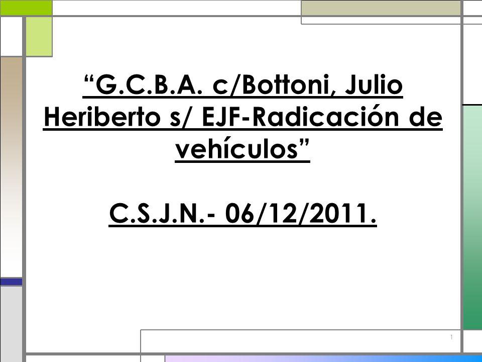 G.C.B.A. c/Bottoni, Julio Heriberto s/ EJF-Radicación de vehículos C.S.J.N.- 06/12/2011.
