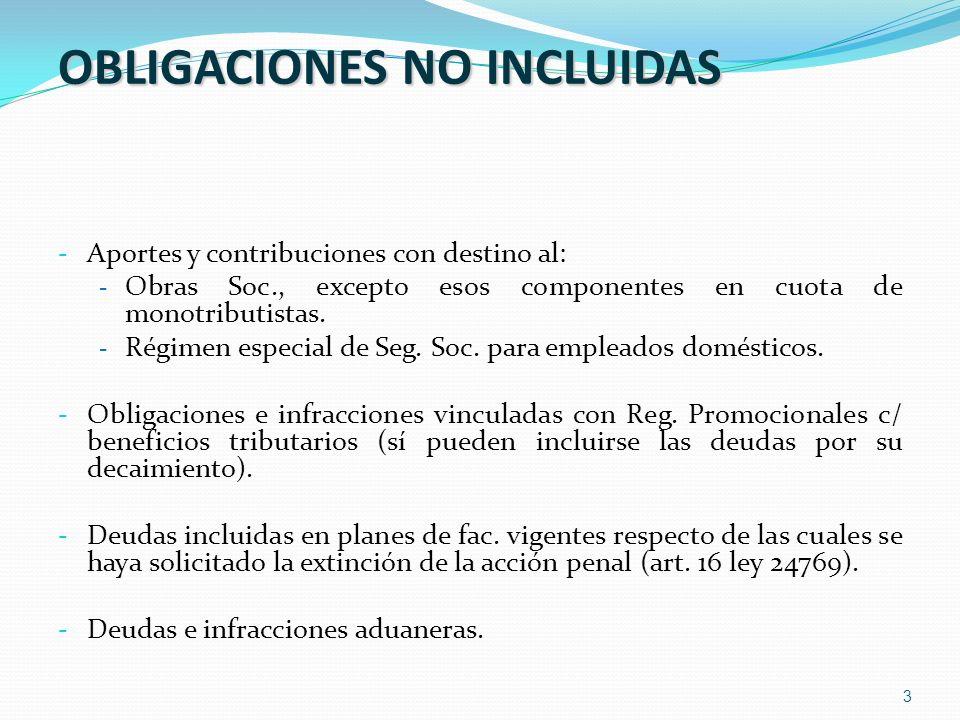 OBLIGACIONES NO INCLUIDAS