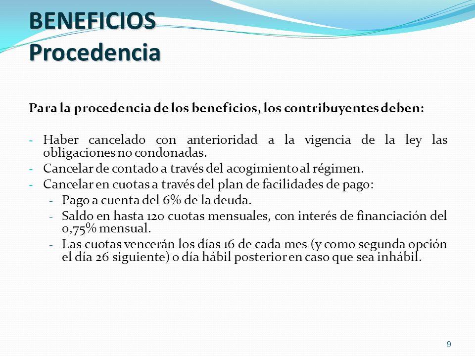 BENEFICIOS Procedencia