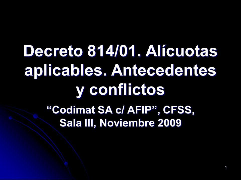 Decreto 814/01. Alícuotas aplicables. Antecedentes y conflictos