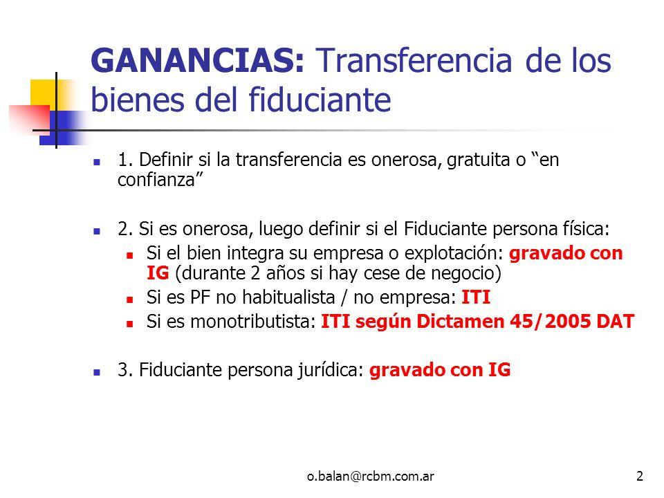 GANANCIAS: Transferencia de los bienes del fiduciante
