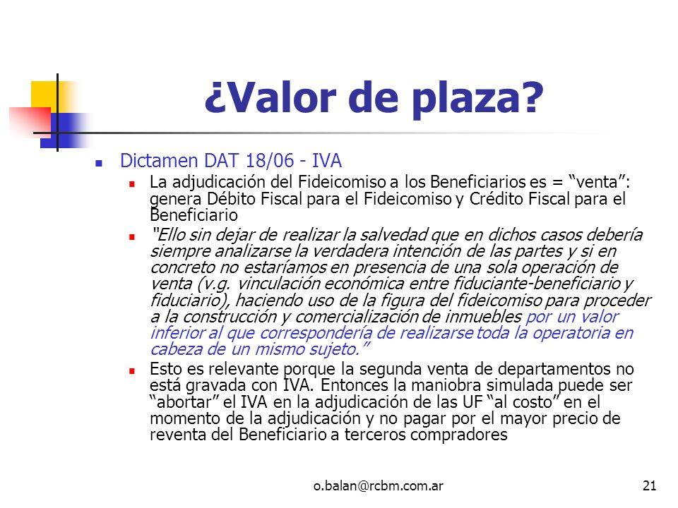 ¿Valor de plaza Dictamen DAT 18/06 - IVA