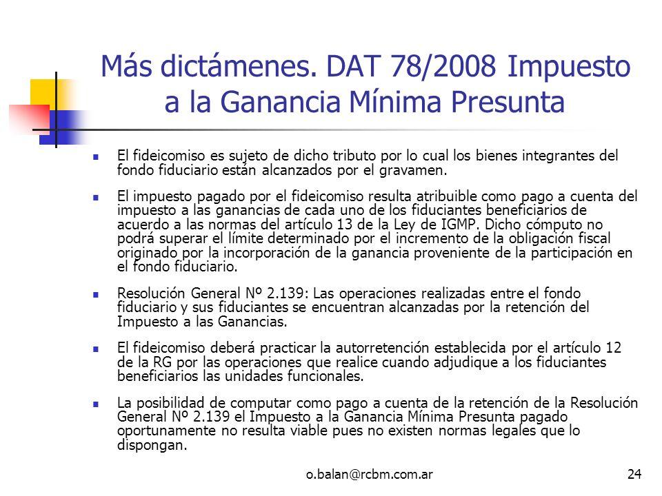 Más dictámenes. DAT 78/2008 Impuesto a la Ganancia Mínima Presunta