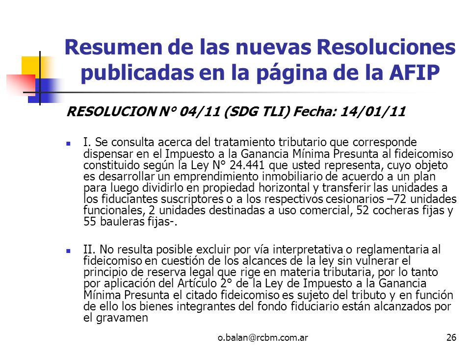 Resumen de las nuevas Resoluciones publicadas en la página de la AFIP