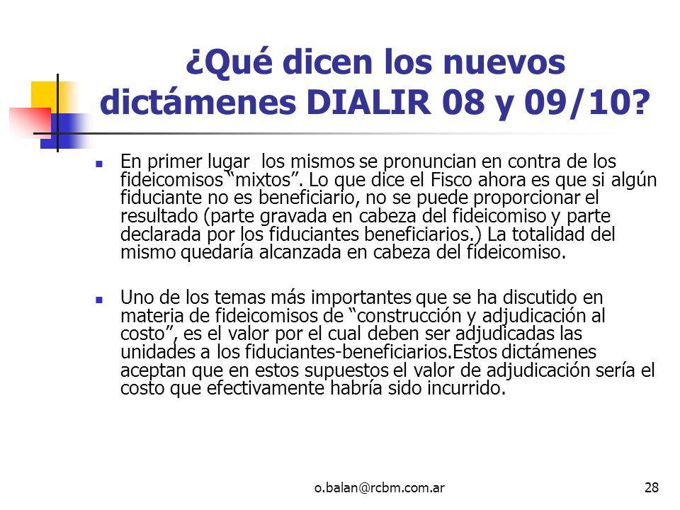 ¿Qué dicen los nuevos dictámenes DIALIR 08 y 09/10